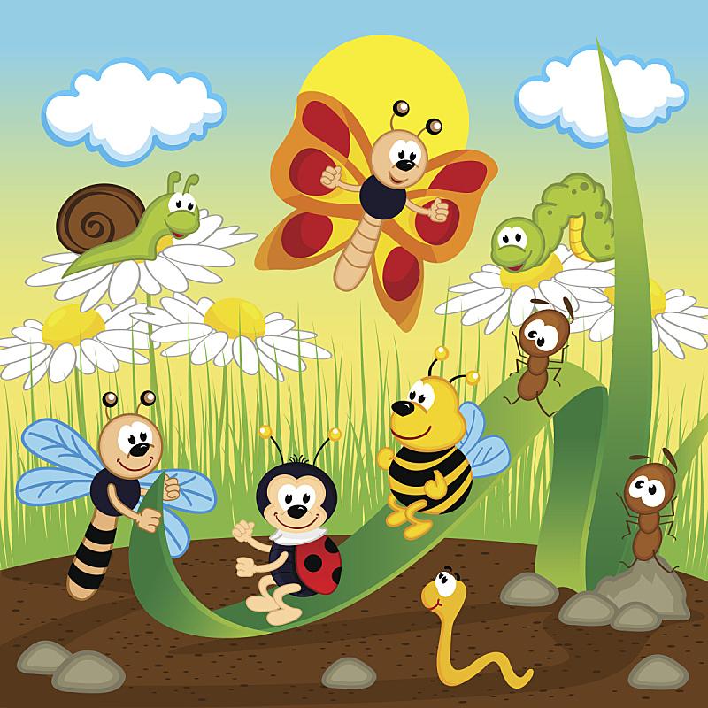 叶子,昆虫,蚂蚁,毛虫,瓢虫,进行中,蝴蝶,绘画插图,夏天,户外