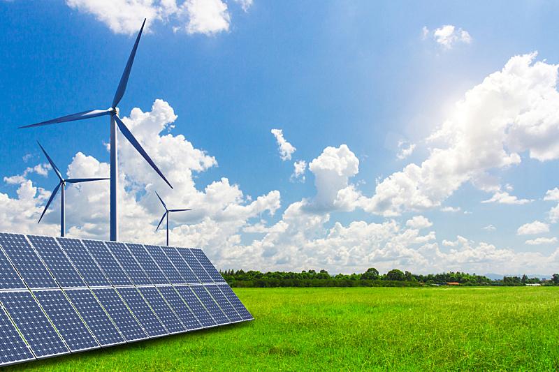 未来,风力,能源,现代,太阳能,平原,宏伟,天空,太阳能电池板,新的