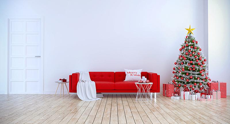 现代,沙发,圣诞树,红色,室内,旅游目的地,住宅内部,墙,起居室,三维图形