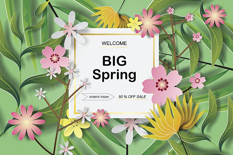 春天,边框,艺术,叶子,矢量,纸,背景,促销,设计