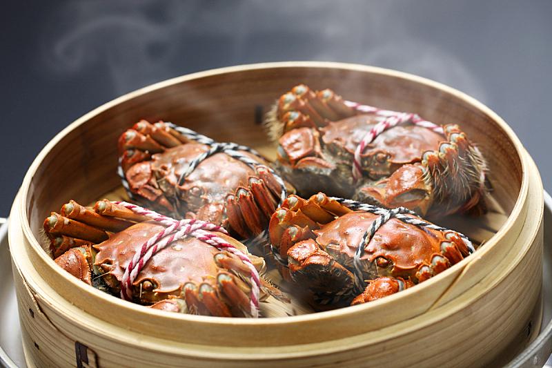 螃蟹,食品,蒸汽,上海,中华绒螯蟹,蒸菜,蒸锅,水平画幅,海产,篮子