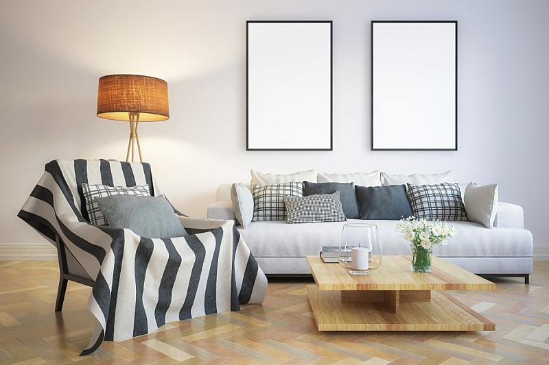现代,起居室,室内,绘画插图,三维图形,边框,空的,纺织品,扶手椅,地板