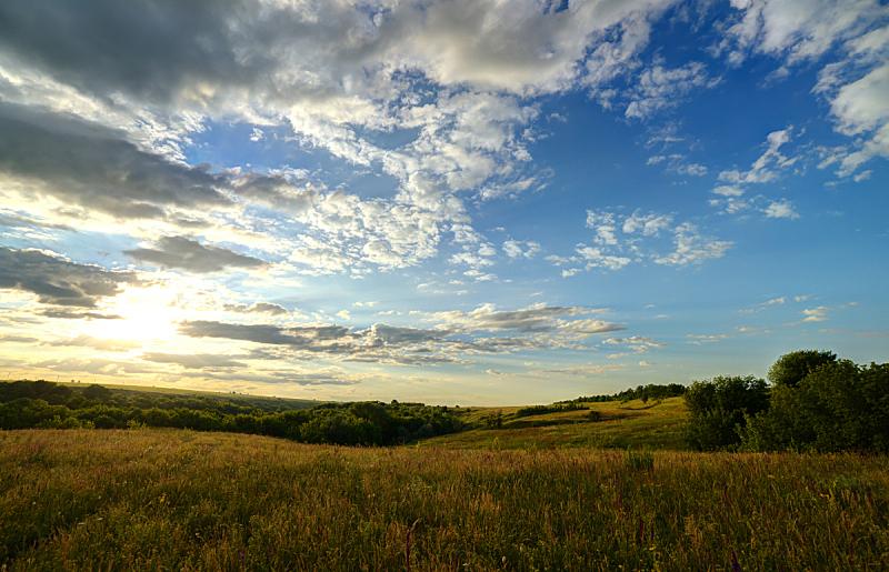天空,地形,田地,宏伟,水平画幅,无人,早晨,夏天,户外,草