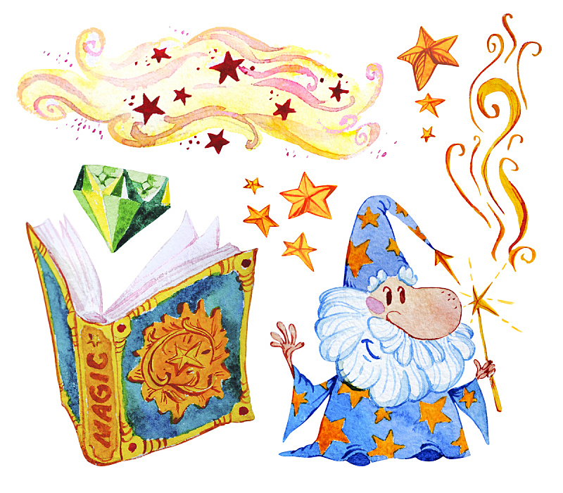 魔杖,男巫,童话故事,烟,书,魔术,星形,钻石,收集,布置