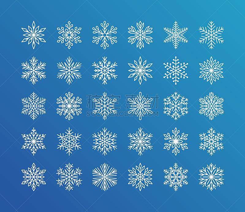可爱的,贺卡,新年前夕,雪,白色,平坦的,计算机图标,雪花