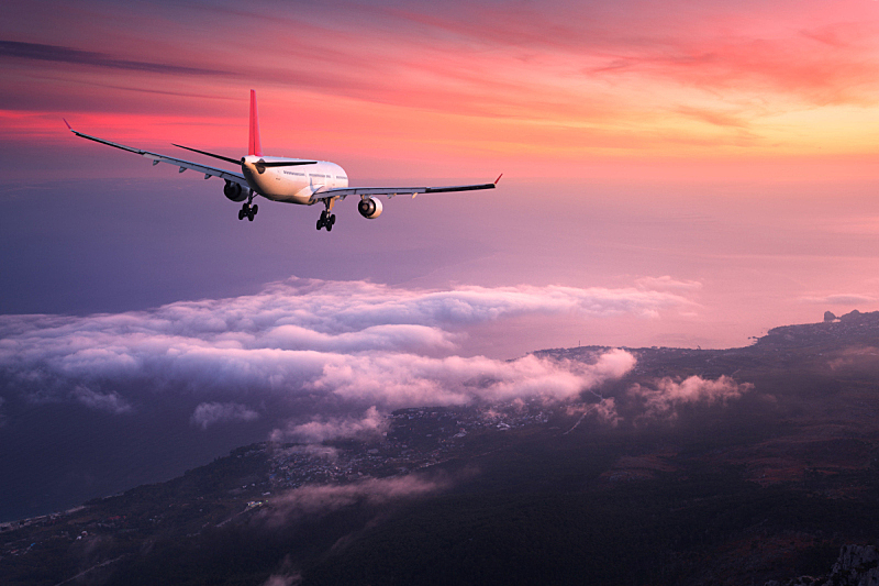 商用机,飞机,商务旅行,旅途,天空,黄昏,乘客,着陆,飞,日落
