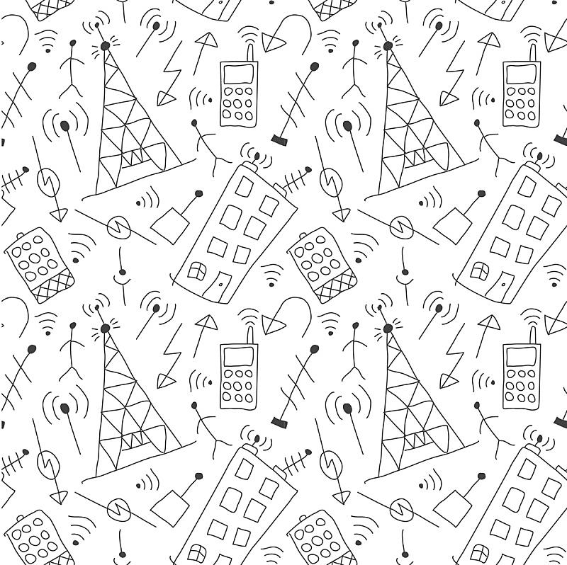儿童,房屋,无线技术,手机,背景,符号,四方连续纹样,天线,乱画,画画