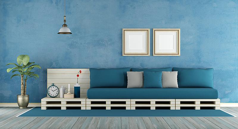 蓝色,起居室,货盘,白灰泥,镶花地板,沙发,边框,水平画幅,墙,无人