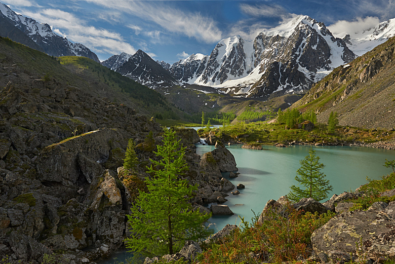 阿尔泰山脉,水,天空,洛矶山脉,夜晚,雪,早晨,夏天,湖,彩色图片