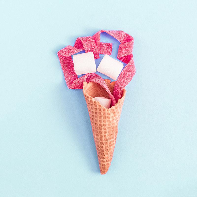创造力,静物,蓝色,彩色蜡笔,纸,冰淇淋,留白,夏天,明亮,甜点心