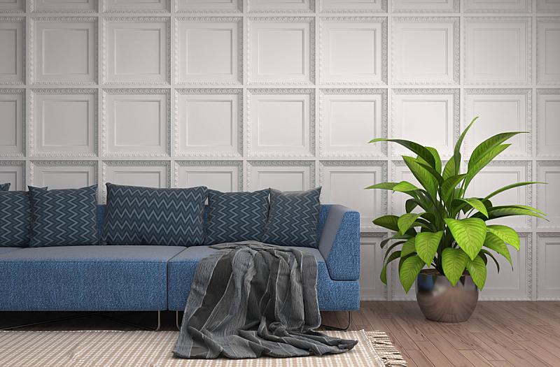 沙发,室内,绘画插图,三维图形,住宅房间,褐色,水平画幅,墙,无人,装饰物