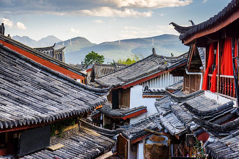 丽江,传统,房屋,瓦,风景,纳西族,云南省,灯笼,亭台楼阁,古董