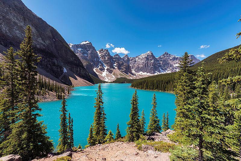 梦莲湖,班夫国家公园,雪,在上面,露易斯湖,卡尔加里,加拿大落基山脉,雪山,洛矶山脉,自然