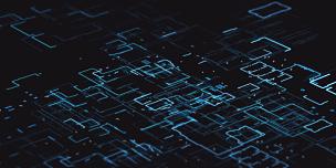 计算机,二进制码,蓝色,选择对焦,黑色背景,未来,全息图,循环元素,绘画插图,计算机软件