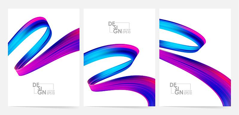 现代,三维图形,绘画插图,空白的,液体,多色的,矢量,式样,形状