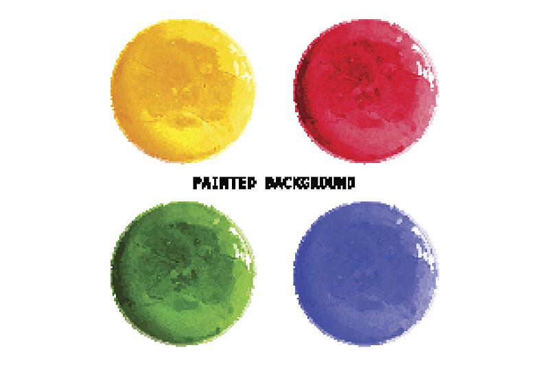 圆形,矢量,多色的,涂料,水彩画,点状,形状,无人,蓝色,绘画插图