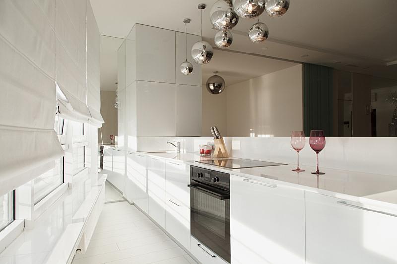现代,设计师,厨房,顶楼公寓,水平画幅,家具,工作室,开着的,白色,水槽