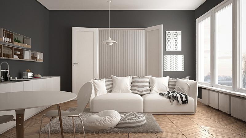 沙发,厨房,建筑,起居室,极简构图,白色,餐桌,枕头,小毯子