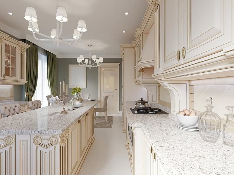 室内,米色,古典风格,家具,餐桌,厨房,华贵,图像,水平画幅,乌克兰