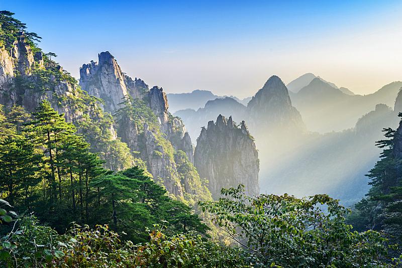 黄山山脉,华山,安徽省,陕西省,观测点,天空,高视角,早晨,旅行者,都市风景