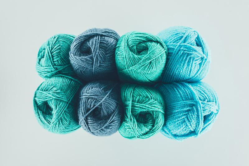 球,绿色,蓝色,羊毛,视角,分离着色,顶部,白色,水平画幅,机织织物
