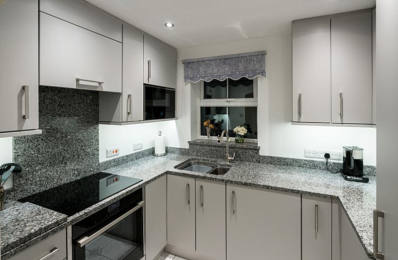 小的,公寓,花岗岩,极简构图,厨房,新的,水平画幅,无人,家庭生活,微波炉
