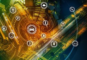 行人,智慧,技术,概念,抽象,智慧城市,图像,物联网,建筑结构,运输