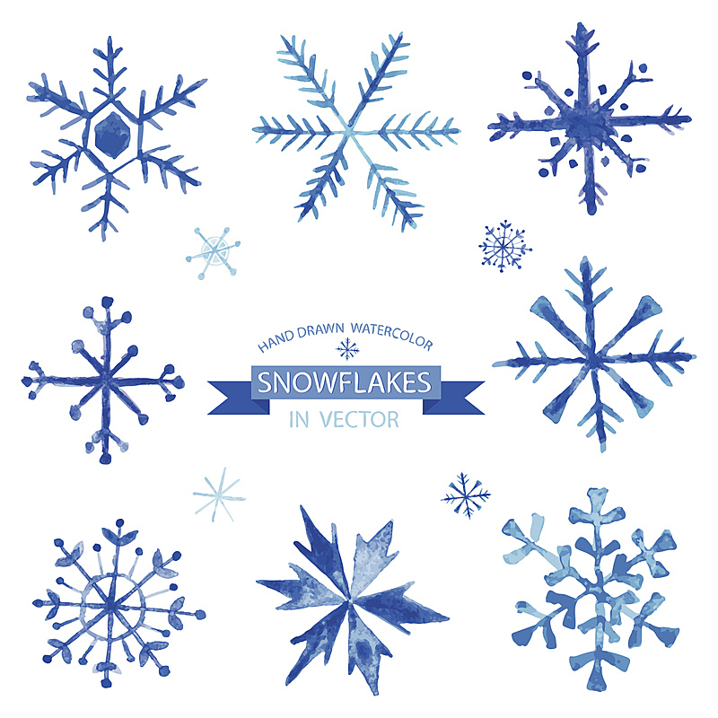 雪花,矢量,水彩画,水彩颜料,绘画插图,贺卡,纹理效果,雪,无人
