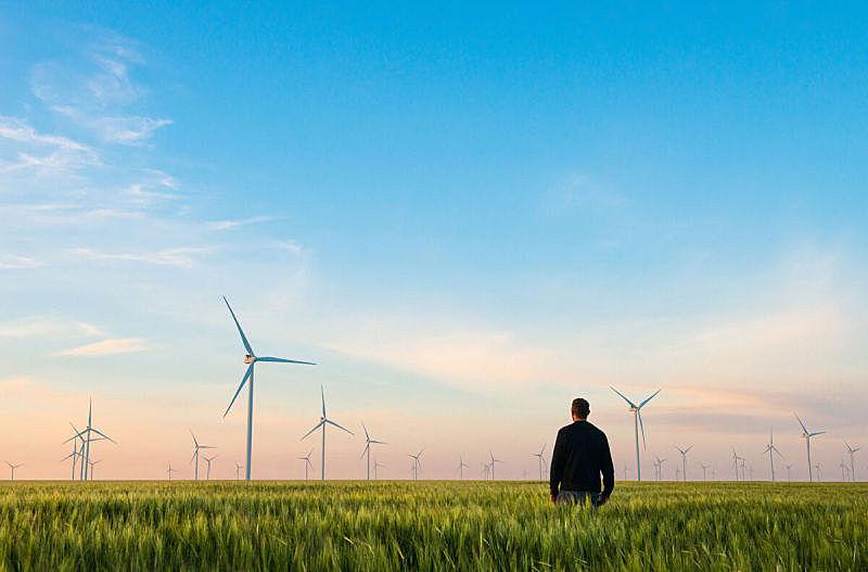 风轮机,小麦,工业,绿色,男人,田地,电,风车,涡轮,变电所