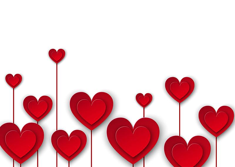 情人节,绘画插图,矢量,红色,背景,纸花,装饰,爱,除草