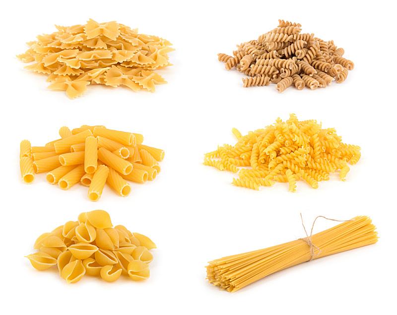 意大利面,分离着色,水平画幅,传统,生食,膳食,碳水化合物,组物体,干的,特写