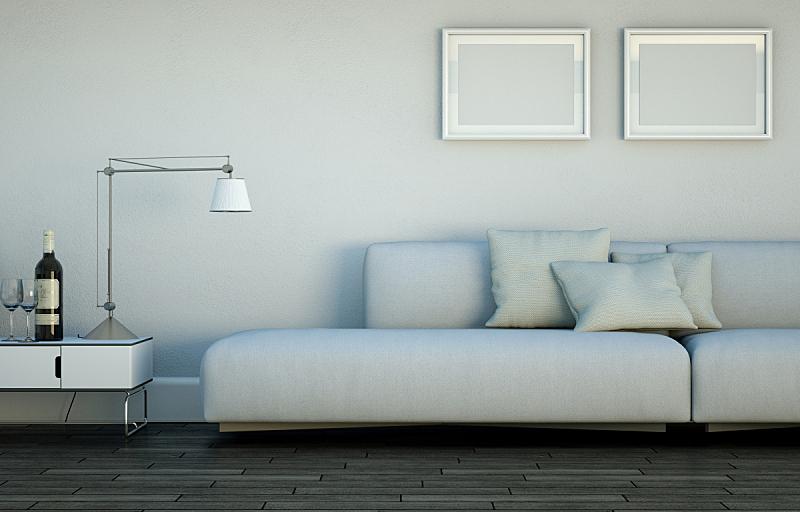 沙发,现代,室内设计师,住宅房间,白色,明亮,茶几,华贵,砖,小毯子