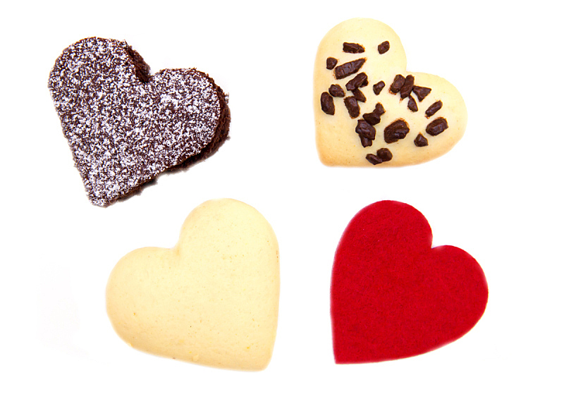 饼干,心型,蛋糕,关闭的,代表,早晨,生姜,甜点心,面包,白色