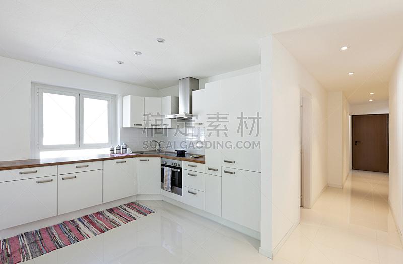 室内,厨房,房屋,新的,水平画幅,墙,无人,走廊,地毯,家具