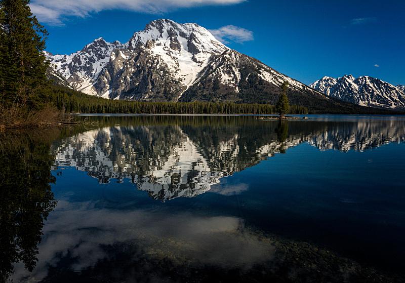 提顿山脉,山,湖,春天,国家公园,水平画幅,地形,无人,怀俄明,户外