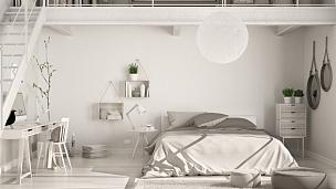 阁楼,卧室,简单,斯堪的纳维亚人,室内设计师,家庭工作间,极简构图,开放式设计,复式楼,古典式
