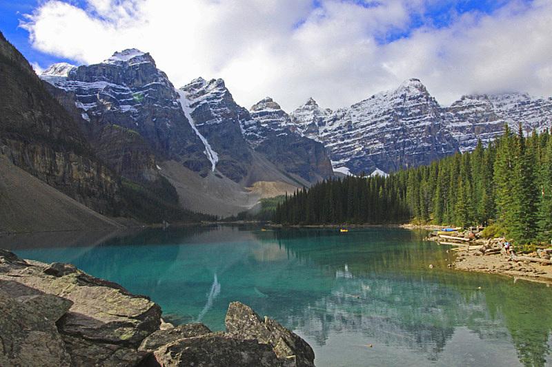 阿尔伯塔省,班夫国家公园,湖,加拿大,班夫,湖岸,水平画幅,无人,户外,绿松石色