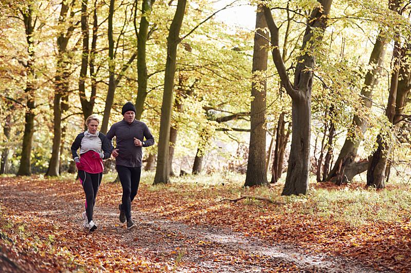 慢跑,中老年伴侣,秋天,树林,广角,中老年男人,中老年人,40到49岁,小路,50到59岁