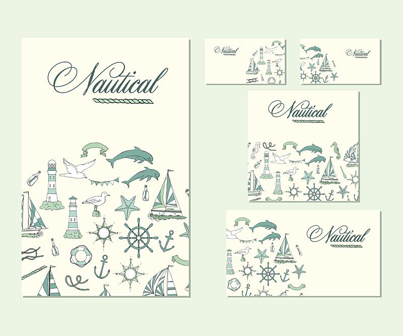 船,模板,商务,四元素,身份,海豚,绘画插图,水,贺卡,水平画幅