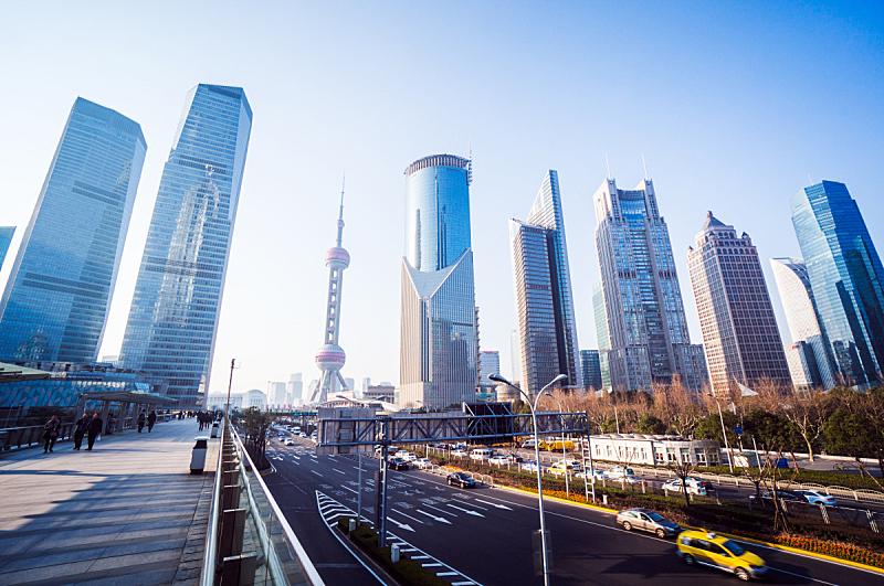 上海,都市风景,黄浦区,陆家嘴,浦东,天空,未来,水平画幅,无人,东亚