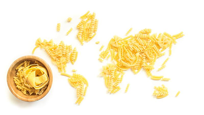 意大利面,地球形,生食,地球村,蝴蝶结通心粉,面条,螺旋面,意大利馄饨,大洲,水平画幅
