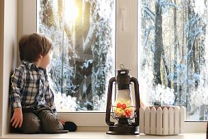 看,儿童,新年前夕,公亩,拉凡他那石拱,美,新的,水平画幅,雪