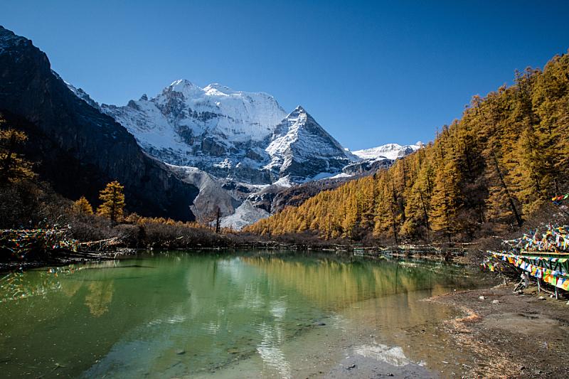 十月,乡村,四川省,美,水平画幅,雪,无人,巨大的,户外,湖