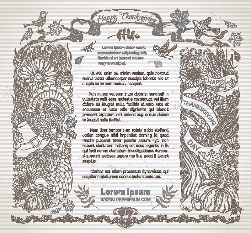 边框,丰收的羊角,蔓越桔,绘画插图,留白,褐色,水平画幅,南瓜,古典式,摇滚乐