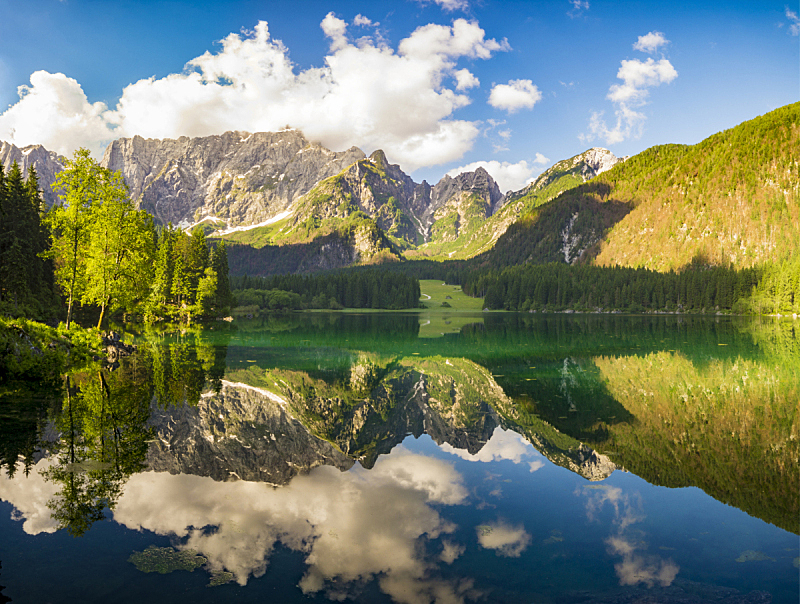 湖,山,在上面,黎明,自然,水平画幅,岩石,无人,蓝色,全景