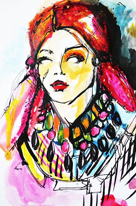 时装模特,垂直画幅,绘画插图,仅成年人,青年人,仅一个青年女人,魅力,从容态度,成年的