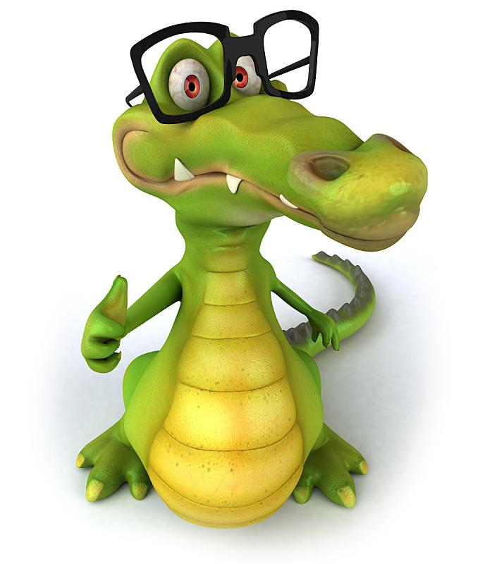 眼镜,鳄鱼,垂直画幅,形状,绿色,绘画插图,性格,白色背景,背景分离,卡通