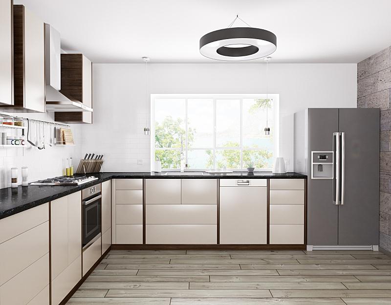 室内,三维图形,极简构图,厨房,洗碗机,炊具,冰箱,燃气灶,柜子,烤炉