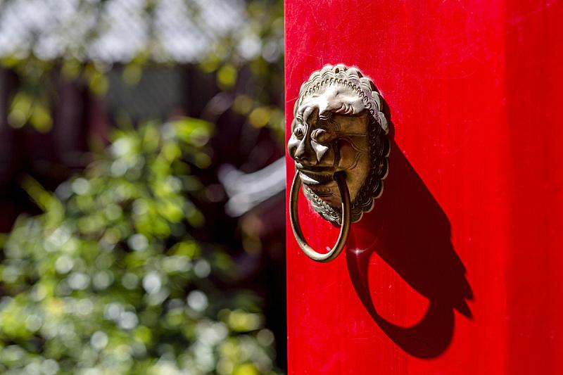 门,门环,狮子,红色,铁,开着的,大门,中国,水平画幅,易接近性