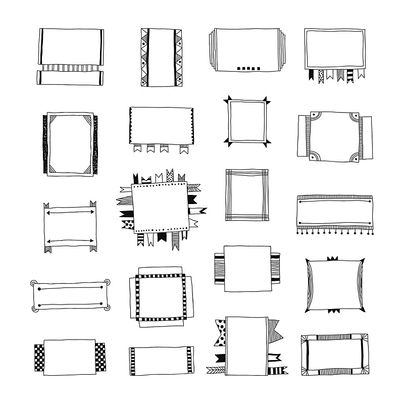 Decorative doodle frames, banners, ribbons, borders